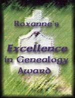Roxanne's Excellence in Genealogy Award